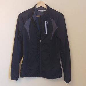 Athleta Black Prevail Ruffled Zip Up Jacket M
